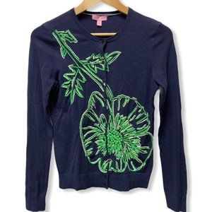 Lily Pulitzer Navy Paley Sweater w/Embroidery - S